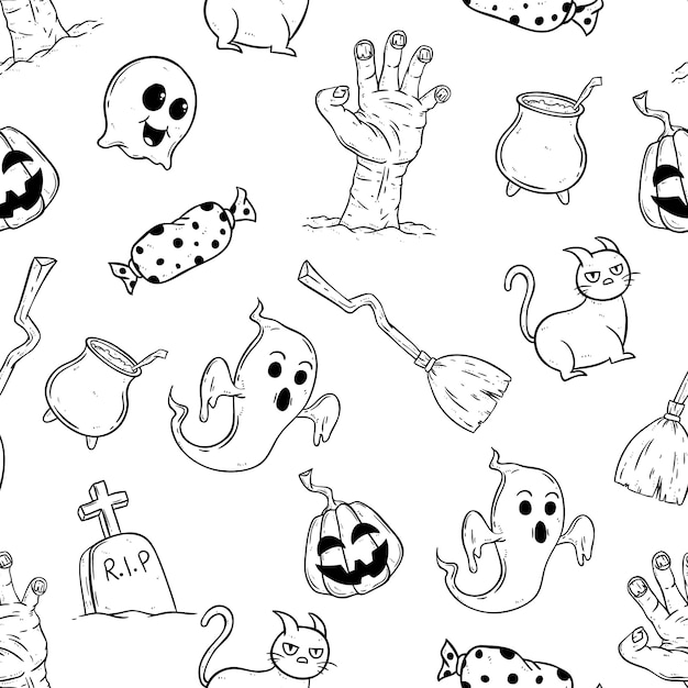 Happy halloween icons in seamless pattern with hand drawn style Premium Vector