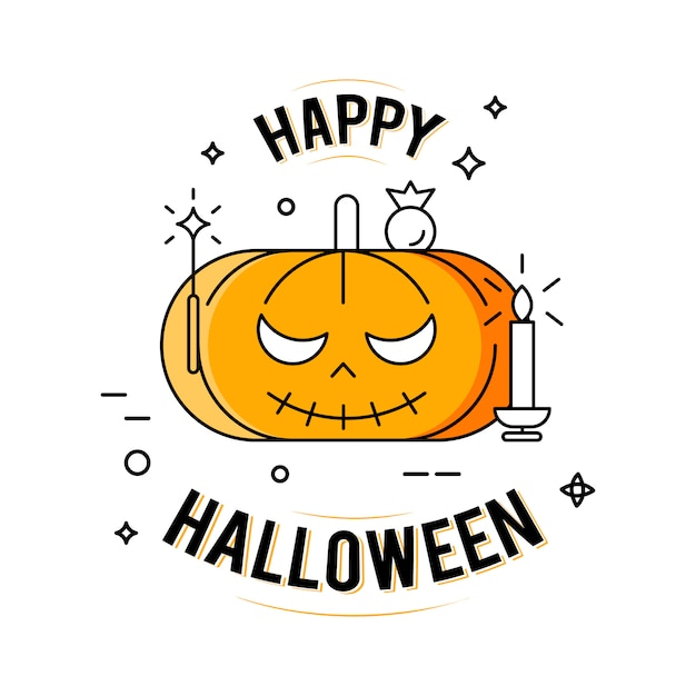 Happy halloween. illustration on the white background Free Vector