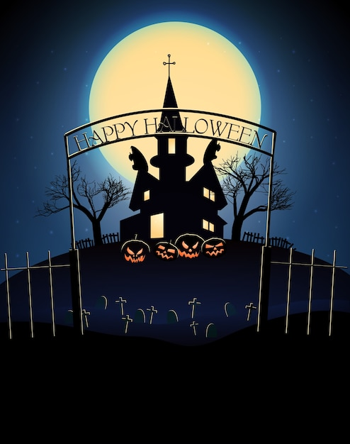 푸른 보름달에 무서운 유령의 집 죽은 나무 묘지와 해피 할로윈 그림 무료 벡터