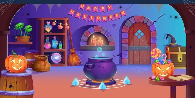 Счастливого хэллоуина. интерьер комнаты хэллоуина с дверью, котлом, тыквами, конфетами, шляпой ведьмы, волшебным шаром, зельями, метлой, мухоловкой, пауками и свечами. фон для игр и мобильных приложений. Premium векторы