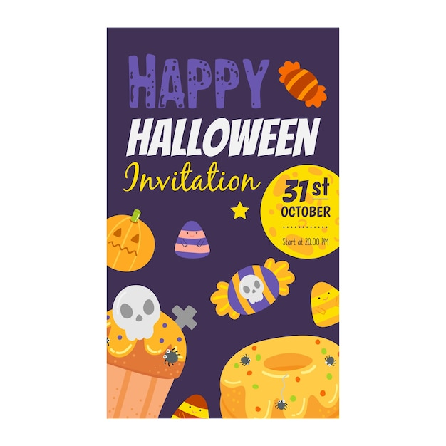 Happy halloween invitation banner. Premium Vector