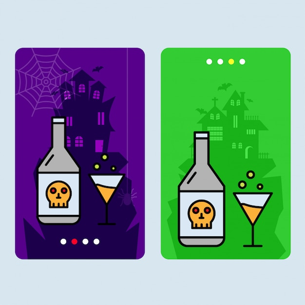 Happy halloween invitation design with drink vector Premium Vector