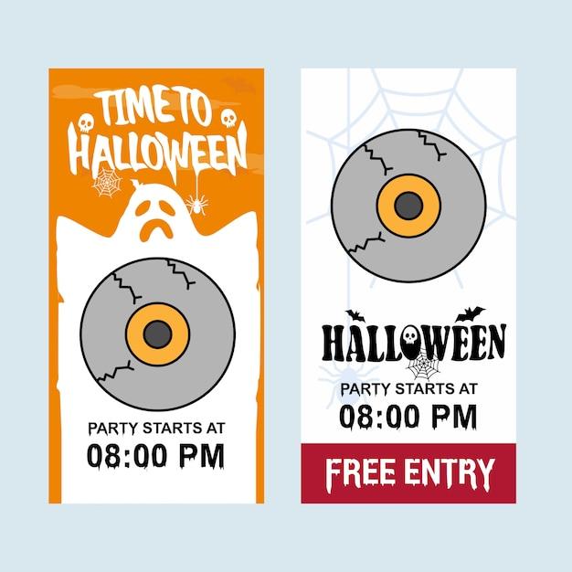 Happy halloween invitation design with eye ball vector Premium Vector