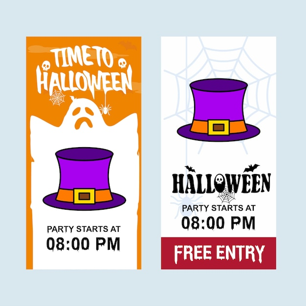 Happy Halloween Invitation Design With Hat Vector Free