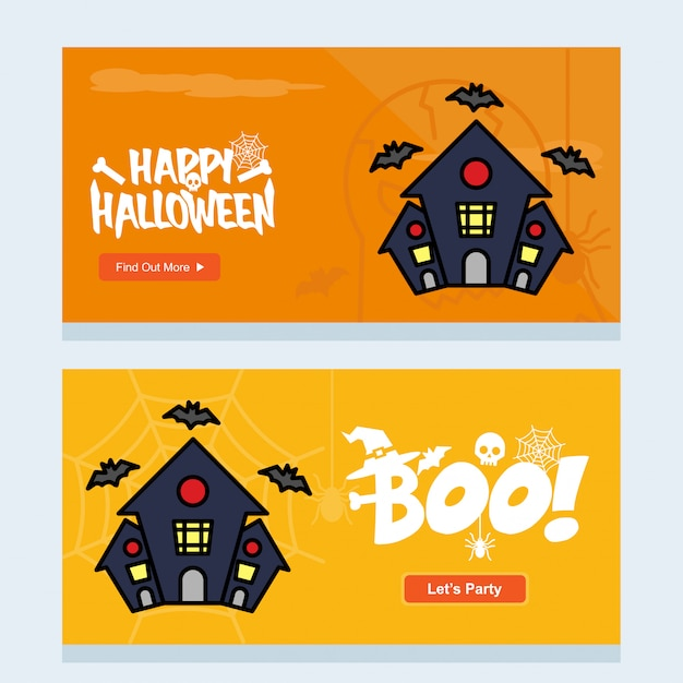 Happy halloween invitation design with hunted house vector Premium Vector