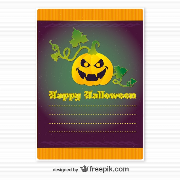 Happy halloween invitation with a scary pumpkin Free Vector
