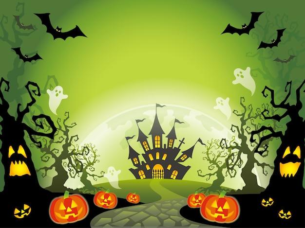 Illustrazione felice del paesaggio di halloween con lo spazio del testo. Vettore gratuito