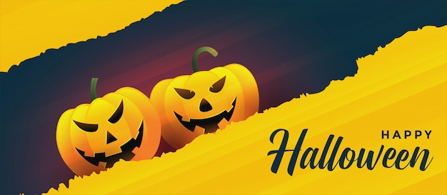Happy halloween laughing pumpkins Free Vector