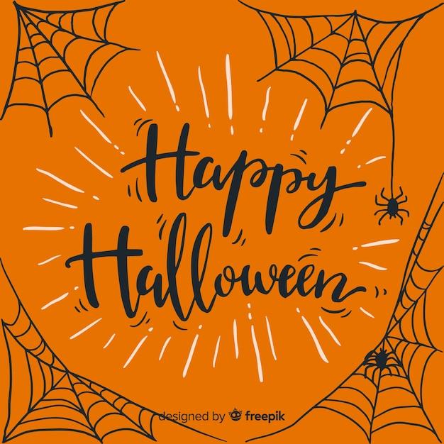 Happy halloween lettering background Free Vector