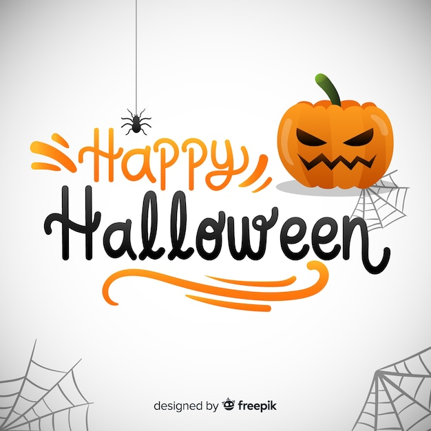 Happy halloween lettering background Free Vector