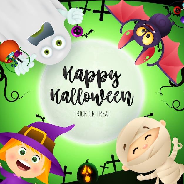 Happy halloween lettering, bat, ghost, kids in monsters costumes Free Vector