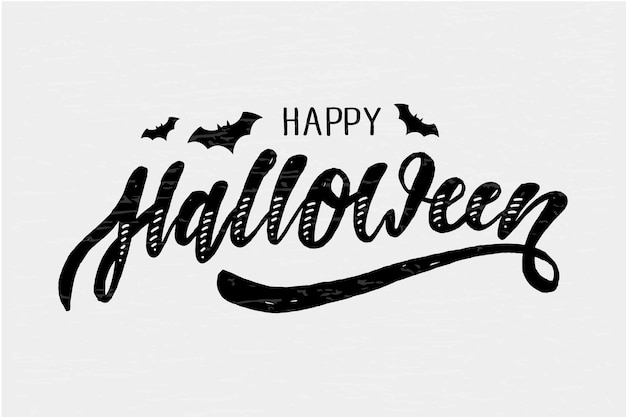 Happy halloween lettering calligraphy brush text holiday  sticker gold Premium Vector