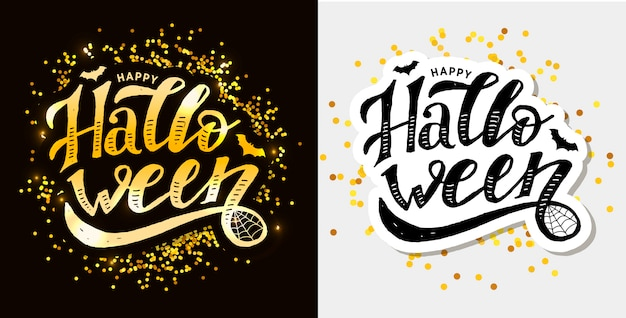 Happy halloween lettering calligraphy brush text holiday  sticker Premium Vector
