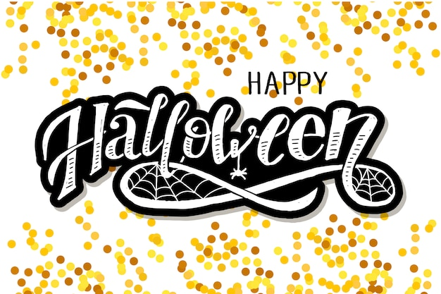 Happy halloween lettering calligraphy brush text holiday vector sticker gold Premium Vector