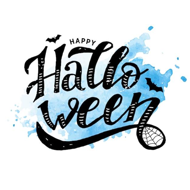 Happy halloween lettering calligraphy brush text holiday vector sticker watercolor Premium Vector