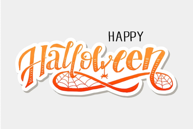 Happy halloween lettering calligraphy brush text holiday vector sticker Premium Vector