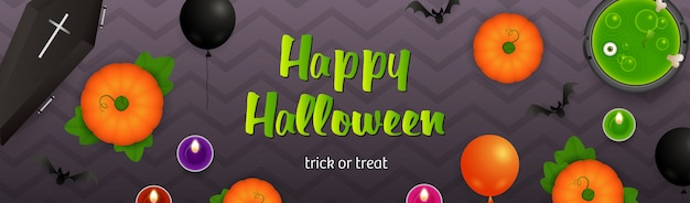 Happy halloween lettering, cauldron with potion and pumpkins Free Vector