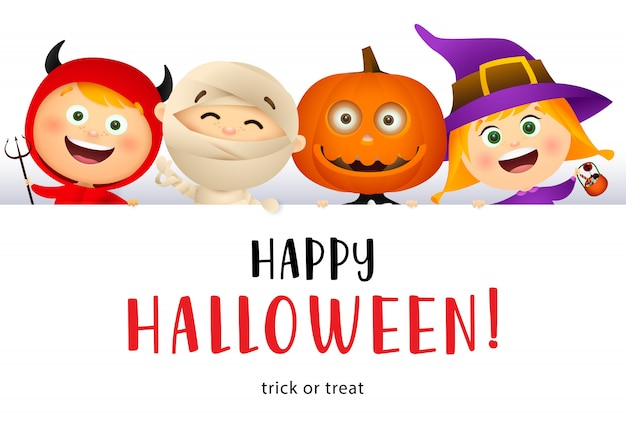 Happy halloween lettering and cute kids in monsters costumes Free Vector