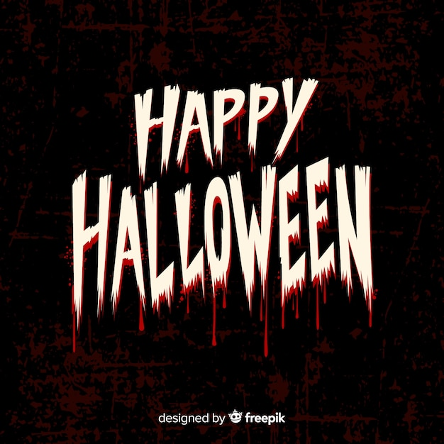 Happy halloween lettering font with blood Free Vector
