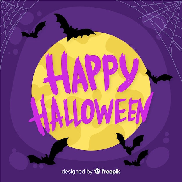 Happy halloween lettering on a full moon night Free Vector