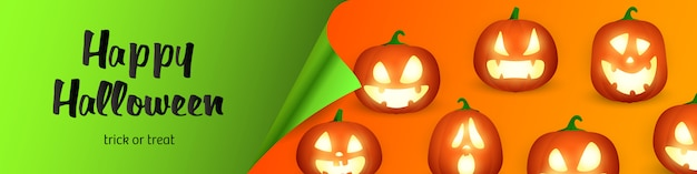 Happy halloween lettering and jack o lanterns Free Vector