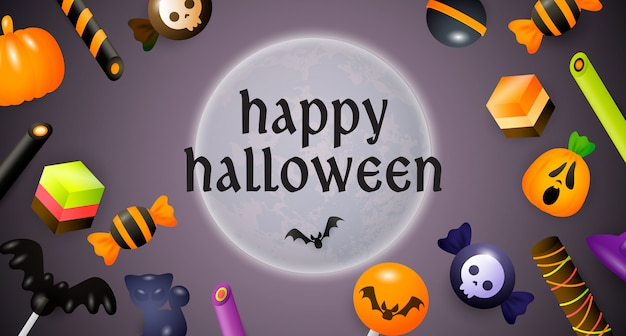 Happy halloween lettering, moon, sweets and candies Free Vector