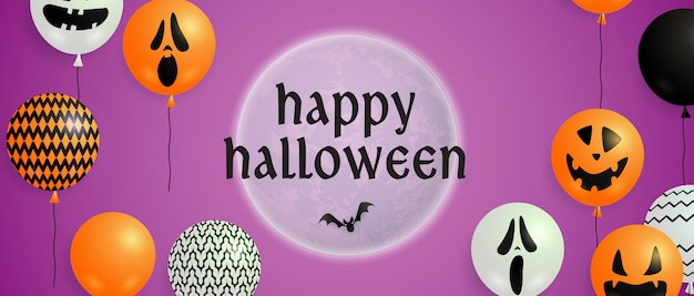 Happy halloween lettering on moon with balloons Free Vector