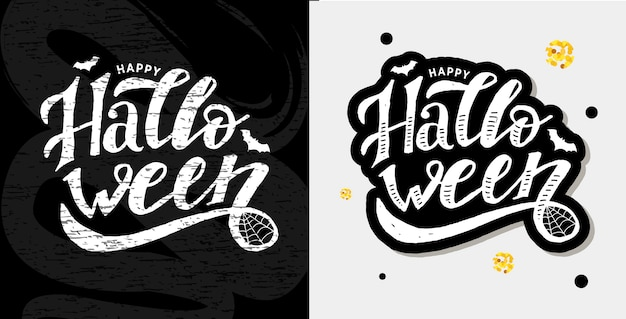 Happy halloween lettering set Premium Vector