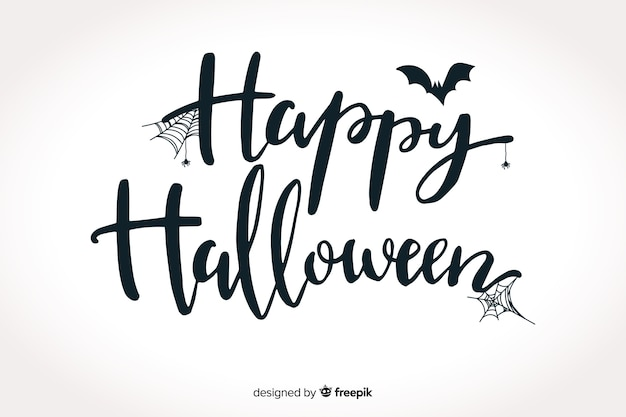 Happy halloween lettering with bat Free Vector