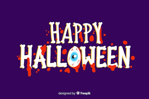 Happy halloween lettering with creepy font Free Vector
