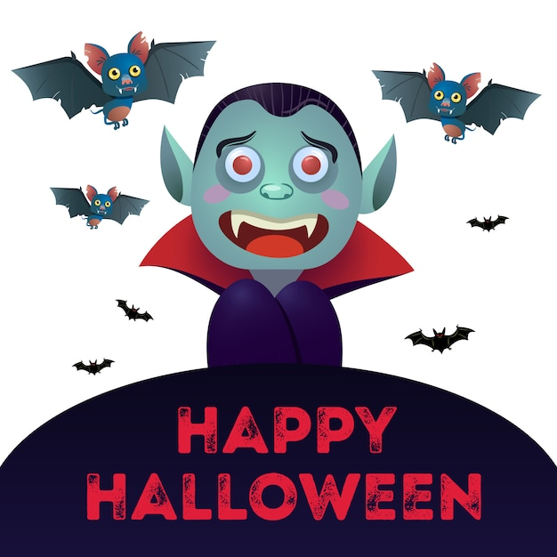 Happy halloween lettering with dracula and bats Free Vector