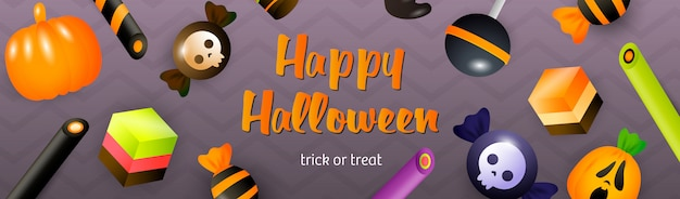 Happy halloween lettering with lollipop, cakes and sweets Free Vector