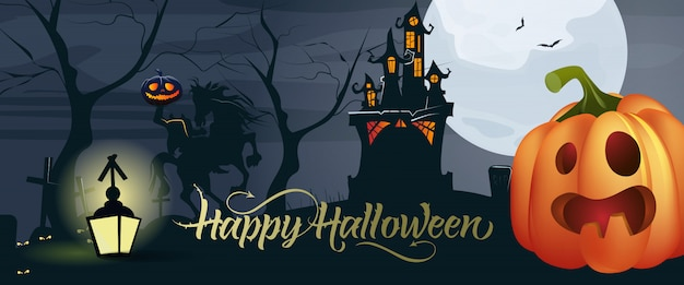 Happy halloween lettering with pumpkin, moon and castle Free Vector