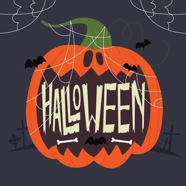 Happy halloween надписи с тыквой | Бесплатно векторы