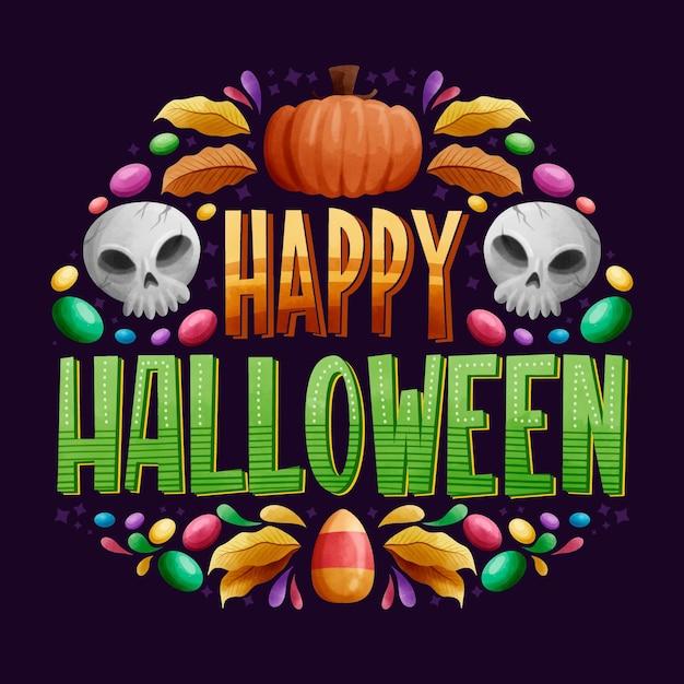 Happy halloween надписи | Бесплатно векторы