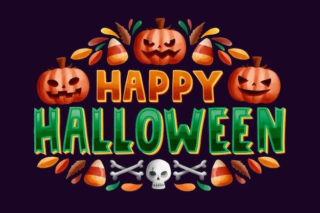 Happy halloween надписи Бесплатные векторы