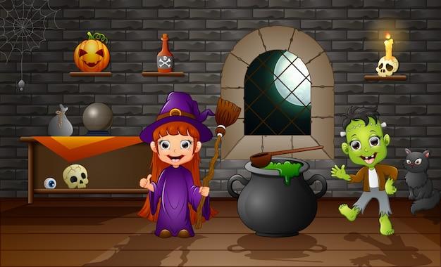 Happy halloween little witch and frankenstein Premium Vector