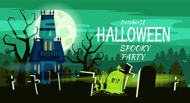 Happy halloween lonely scary abandoned mansion cemetery graves. Premium Vector