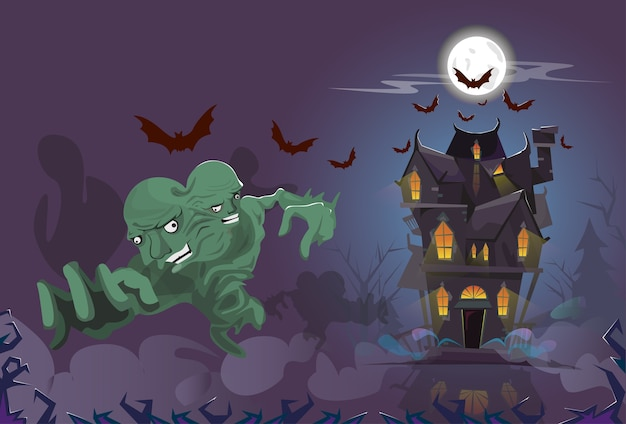 Happy Halloween Monster Night House Party Invitation Card