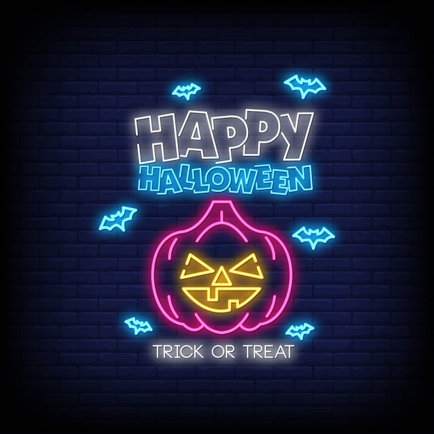 Happy halloween in neon signs style Premium Vector