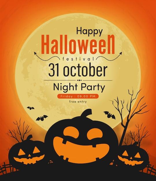 Happy halloween night party banner Premium Vector