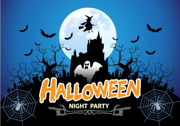 Happy Halloween Night Party Blue Moon Holiday Festival. Premium Vector