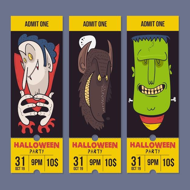Happy halloween night party invitation card, dracula, frank and werewolf. Premium Vector