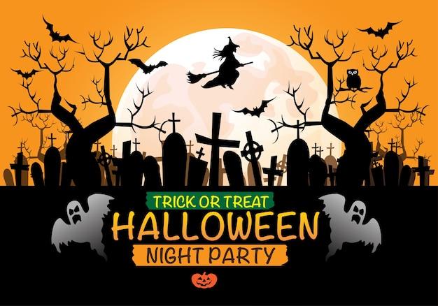 Perfect Happy Halloween Night Party Orange Background. Premium Vector