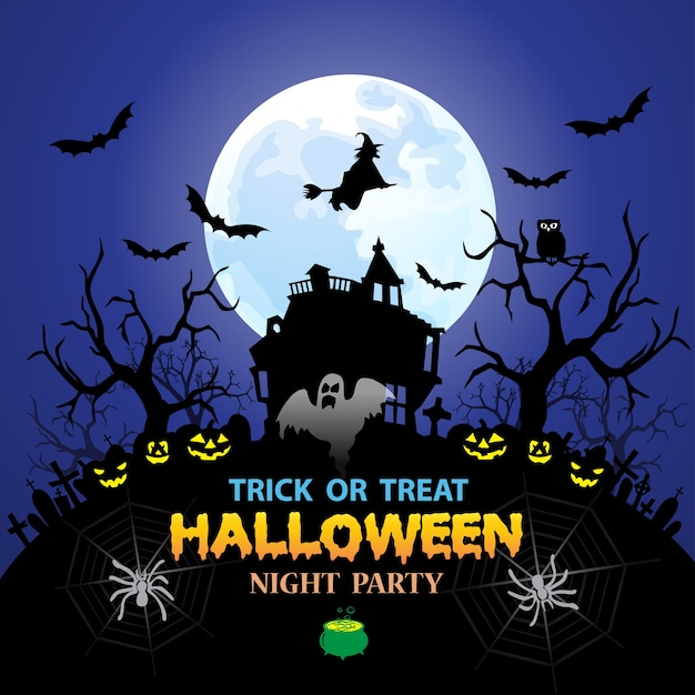 Happy Halloween Night Party Trick Or Treat Holiday Festival. Premium Vector