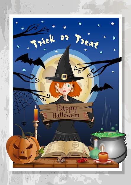 夜の森と満月の背景に魔女の衣装で面白いかわいい女の子とハッピーハロウィーンの夜のパーティー。ハロウィンデザイン Premiumベクター
