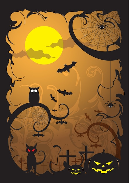 Happy Halloween Night Party. Premium Vector