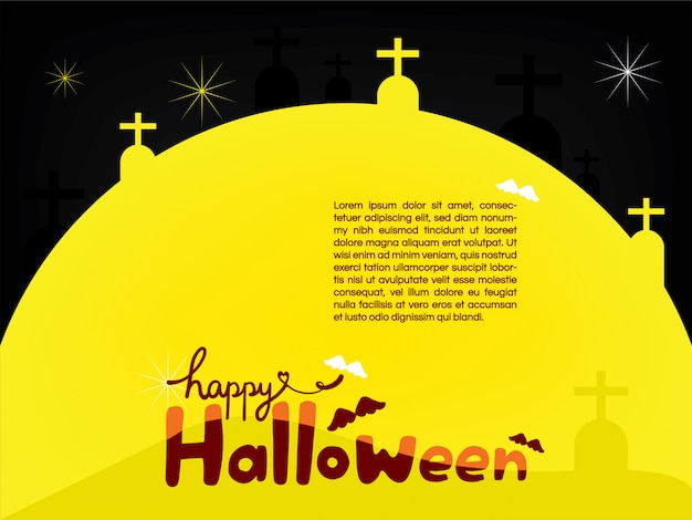 happy halloween on the big moon template vector premium download