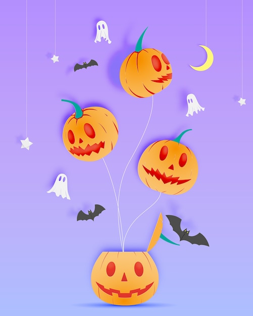 Happy halloween paper art background with ghost vector illustration Premium Vector