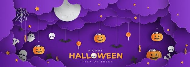 Happy halloween papercut style Premium Vector